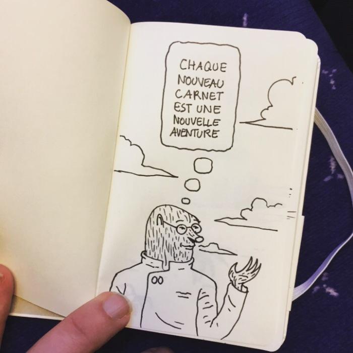 Nouveau carnet, nouvelle aventure... (dessin)
