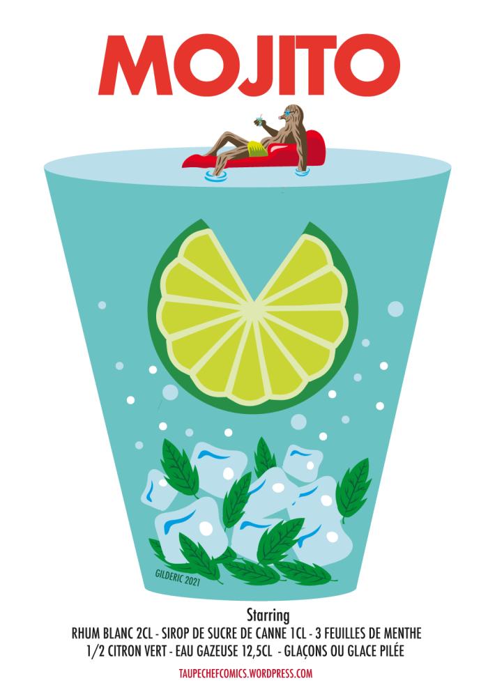 Mojito : recette en poster - dessin vectoriel